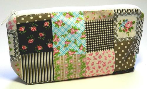 pencil case PATCHWORK LOOK ROSES cotton fabric