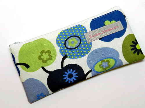 "pencil case flat cotton ""APPLES BLUE GREEN"""