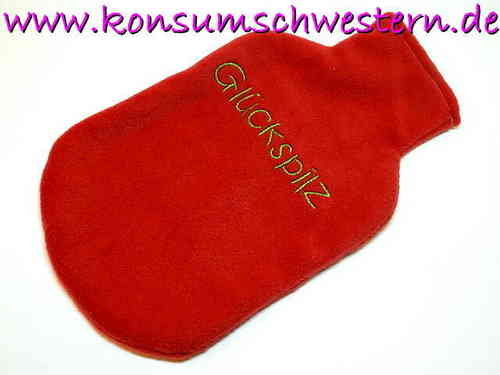 "hot-water bottle cover red ""GLÜCKSPILZ"""
