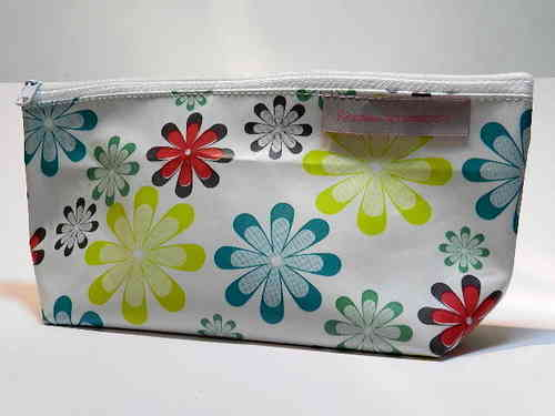 "pencil case waxed fabric ""COLORFUL FLOWERS"""