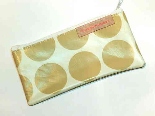 "pencil case flat waxed ""BIG POLKA DOTS BEIGE"""