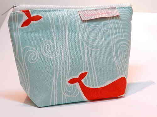 small make-up bag cotton fabric - WHALE