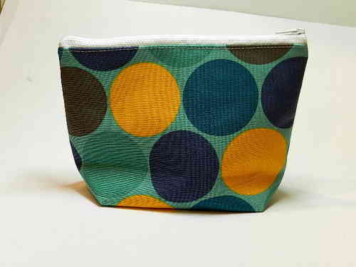 small make-up bag cotton - MAXI DOTS BLUE