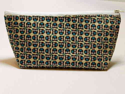pencil case cotton fabric - OWLS GALORE BLUE