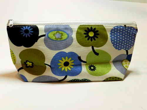 pencil case cotton fabric - APPLES BLUE GREEN