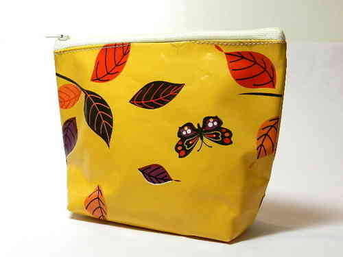 small make-up bag waxed cloth - BUTTERFLIES