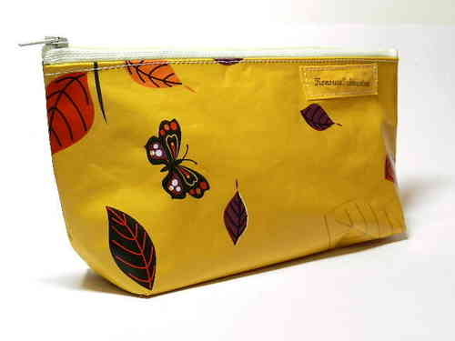 "pencil case waxed fabric ""BUTTERFLIES"" cloth"