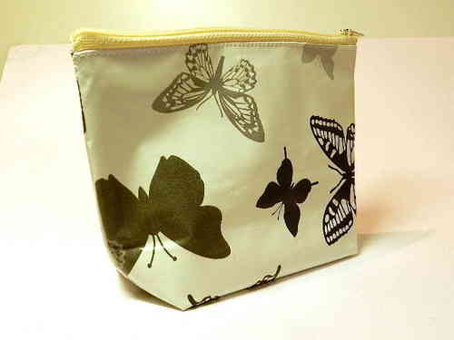 small make-up bag - BUTTERFLIES WHITE - waxed