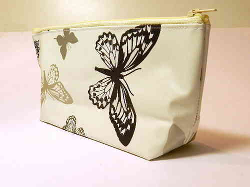 pencil case waxed fabric - BUTTERFLIES WHITE