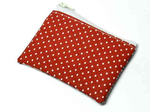 "mini bag cotton fabric ""POLKA DOTS RED"" fabric"