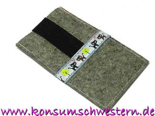 smartphone cover felt grey - CATS GREY - kitty