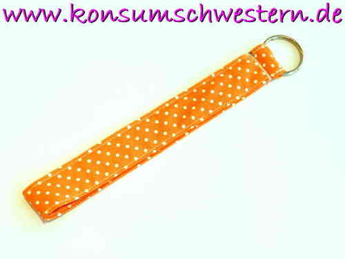 "key chain ""POLKA DOTS ORANGE"" ring long"
