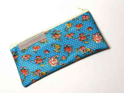 "pencil case flat ""ROSES TURQUOIS"" PVC Ripstop"