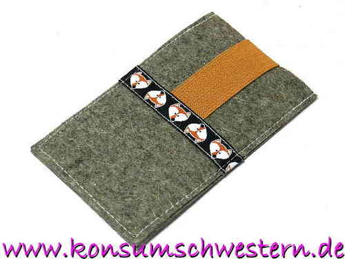 smartphone cover felt - FOX ON BLACK - mobile