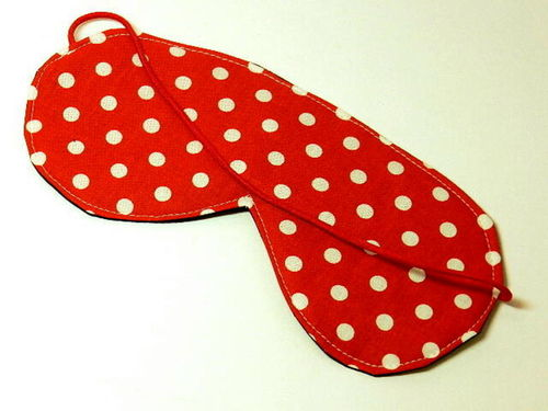 eye sleeping mask MAXI DOTS RED cotton fabric