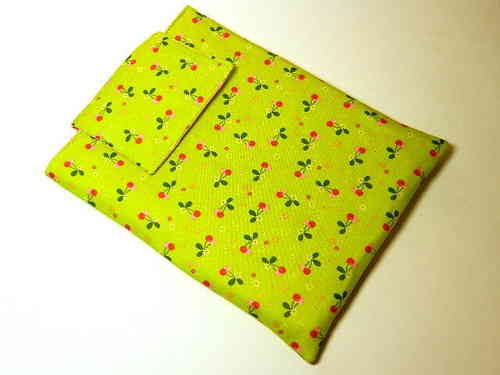 "tablet PC cover cotton fabric ""CHERRIES"" bag"