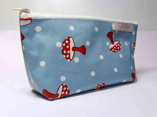 "pencil case ""MUSHROOMS BLUE"" waxed cloth"
