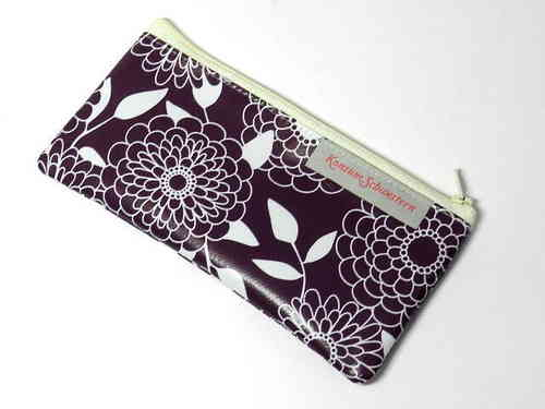 pencil case flat waxed cloth FLOWERS ON PURPLE