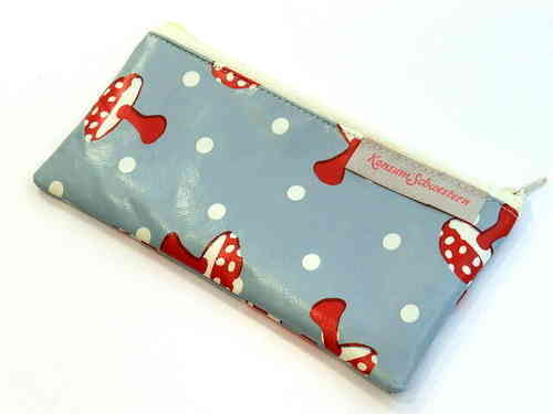 "pencil case flat waxed cloth ""MUSHROOMS BLUE"""