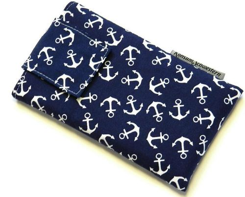 smartphone cover - ANCHORS ON BLUE with strap