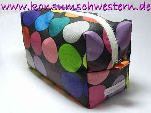 toiletry bag HAPPY DOTS ON BLACK coated fabric