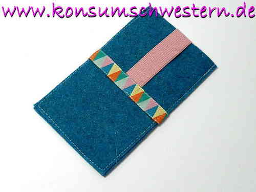 smartphone cover felt - PENNANTS - turquois