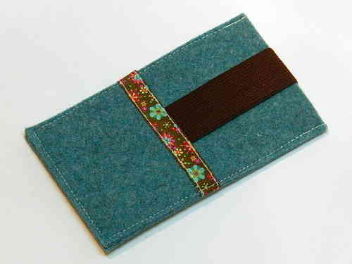 cell phone cover felt - FLOWERS - turquois