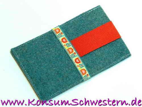 cell phone cover felt - TULIPS - turquoise
