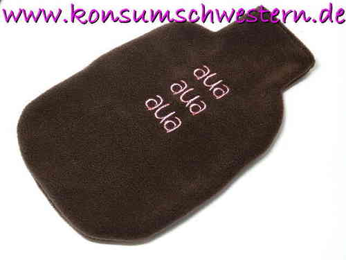 "hot-water bottle cover brown ""AUA AUA AUA"""