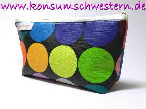 pencil case HAPPY DOTS ON BLACK coated cotton