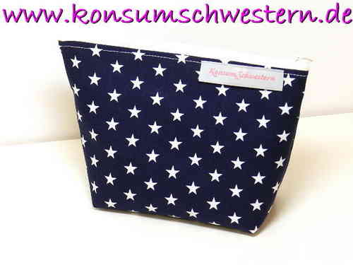 small make-up bag - STARS ON DARK BLUE cotton