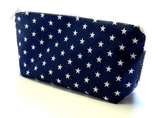 pencil case cotton fabric - STARS ON DARK BLUE