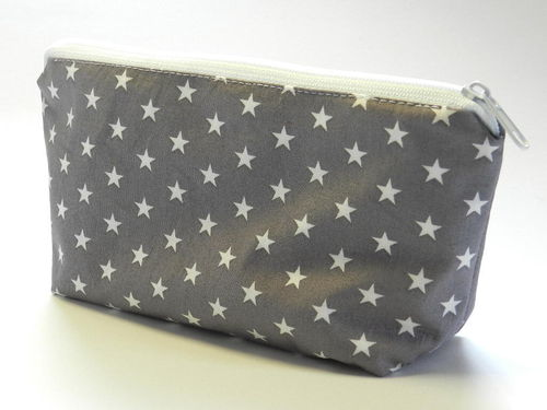 pencil case cotton fabric - STARS ON GREY