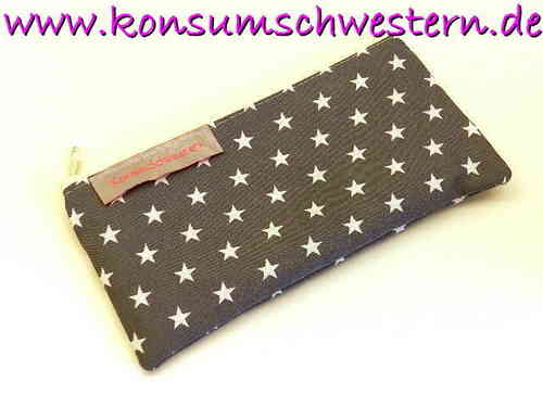 "pencil case flat ""STARS ON GREY"" cotton fabric"