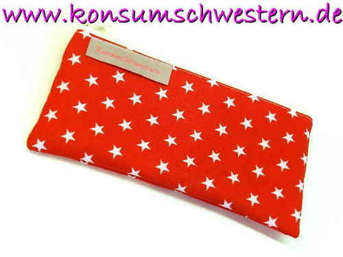 "pencil case flat ""STARS ON RED"" cotton fabric"