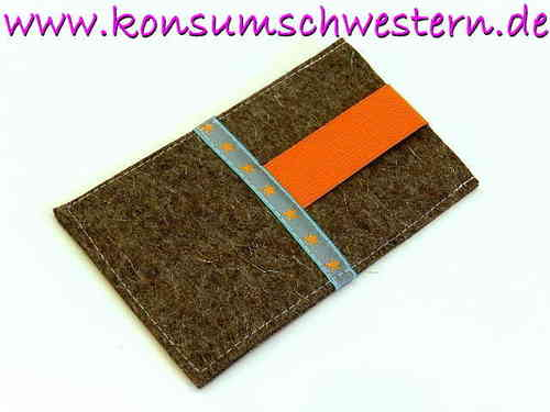 smartphone cover felt - ORANGE STARS - grey