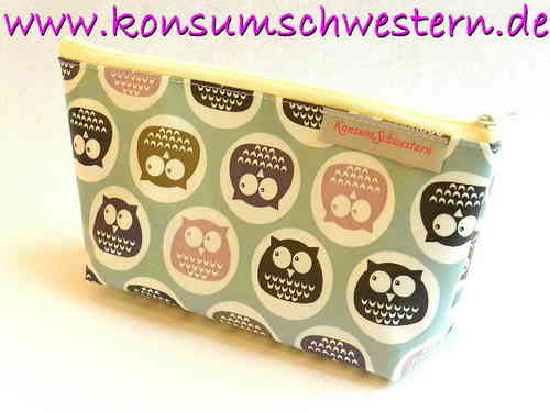 pencil case - CUTE OWLS - waxed fabric