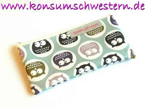 "pencil case flat ""CUTE OWLS"" waxed cloth"