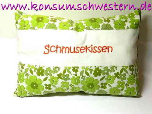 "pillow ""SCHMUSEKISSEN"" cotton SEVENTIES FLOWER"