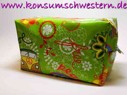 toiletry bag waxed fabric HIPPIE BUS AND PEACE