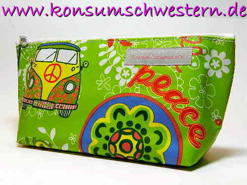 "pencil case ""HIPPIE BUS & PEACE"" waxed cloth"