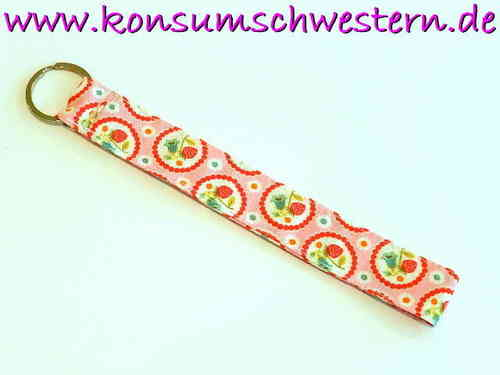 key chain - STRAWBERRIES ON PINK - long