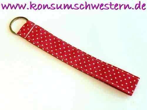 "long key chain ""POLKA DOTS PINK"" cotton fabric"