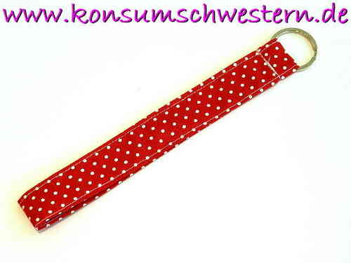 "long key chain ""POLKA DOTS RED"" cotton fabric"