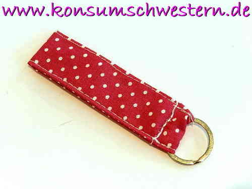 short key chain POLKA DOTS PINK cotton fabric