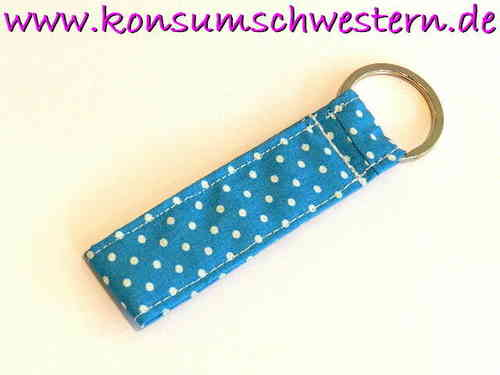 "short key chain ""POLKA DOTS TURQUOIS"" cotton"
