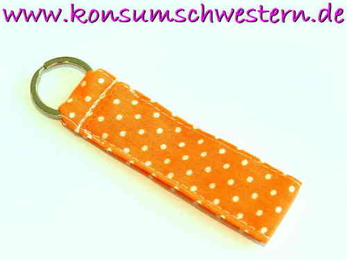 "short key chain ""POLKA DOTS ORANGE"" cotton"