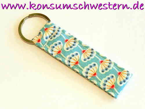 short key chain - FLOWER ON BLUE cotton fabric