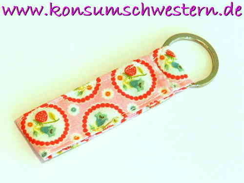short key chain - STRAWBERRIES ON PINK cotton