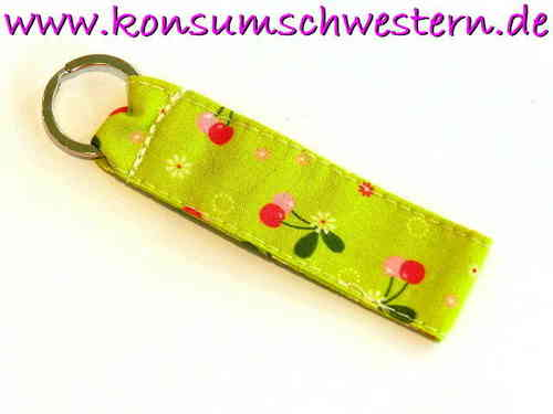 short key chain - CHERRIES ON GREEN - cotton